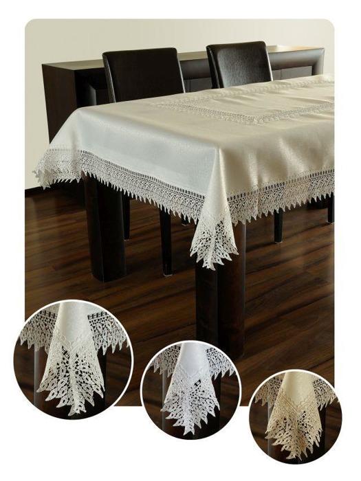 Bieżnik gipiura haft biały prostokąt 60-120